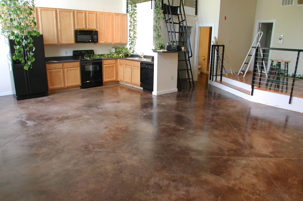 How to Stain an Interior Concrete Floor | eHow | Concrete floors diy,  Concrete stained floors, Painted concrete floors